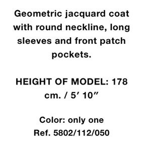 Zara Jackets & Coats - Zara long geometric jacquard coat